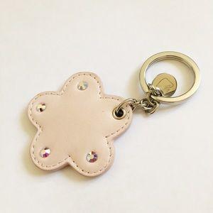 Swarovski pink leather keychain