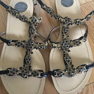 Shoes - Leather Sandals with Gold and Black Jewels