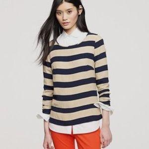 j.crew | tan + navy striped blouse.