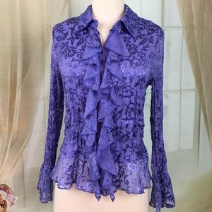 Coldwater Creek Lavender Crinkle Blouse