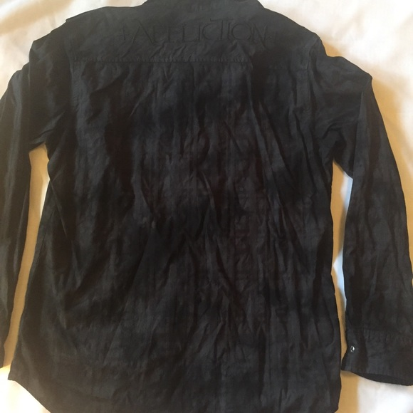 Affliction large affliction black oxford button down for Black oxford button down shirt