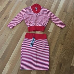 Red & White Stripes skirt and top U.K. 6, US 2