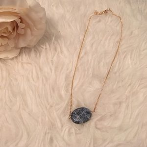 Blue gold oval necklace