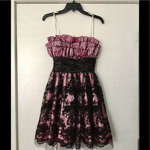 New pink/black lace junior party dress size 3