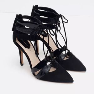 Zara genuine leather combination heels