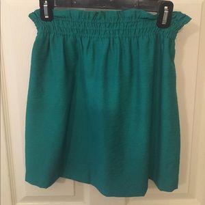 J. Crew green mini skirt, sz. 2