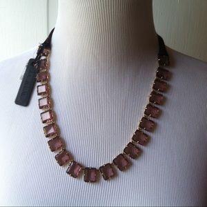 JCrew violet & gold ribbon necklace, nwt