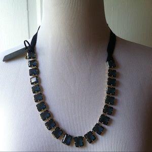 JCrew sapphire blue & gold ribbon necklace, nwt