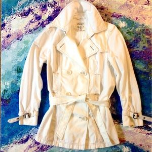 GAP Stylized White Trench Double Breasted Jacket
