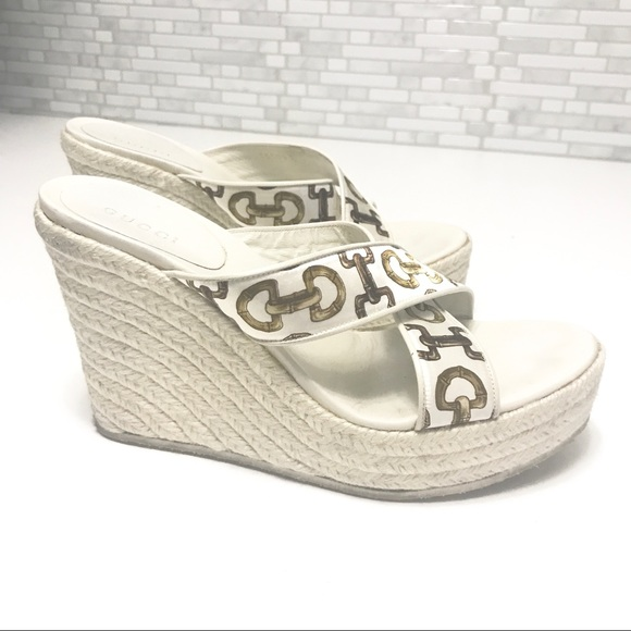 7a19a1ac2b44 Gucci Shoes - GUCCI Horsebit Print Espadrille Wedge Shoes 6.5