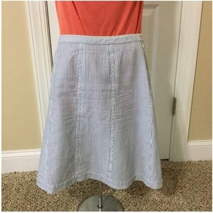Talbots blue white seersucker Aline skirt
