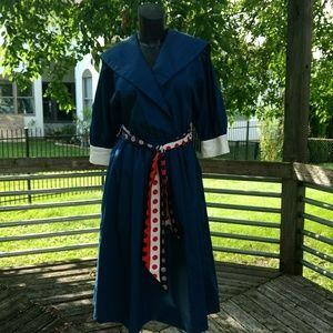 Vintage 80's sailor inspired navy pinup dress