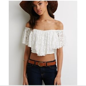 Divided by H&M lace off the shoulder crop top