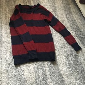 Red and navy sweater