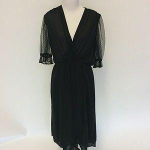 Vintage 70's black sheer gothic wrap dress