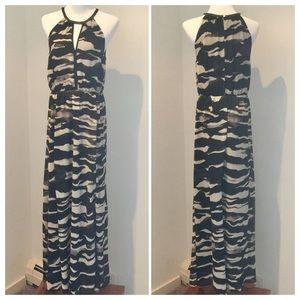 H&M black & cream maxi dress 10