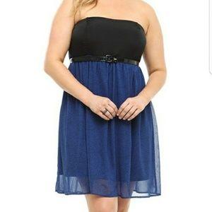 Torrid Strapless Blue & Black Polka Dot Dress