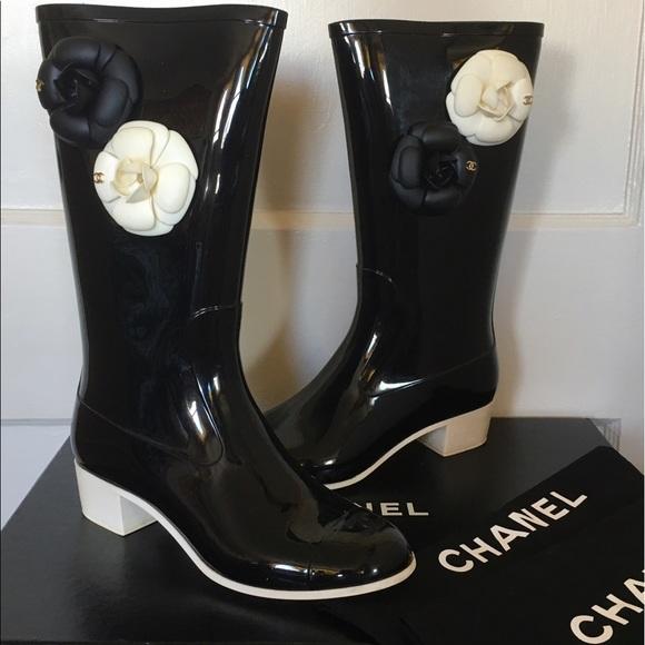 6cb4bc413 CHANEL Shoes | Rare Discontinued Camellia Rain Boot Sz 37 | Poshmark