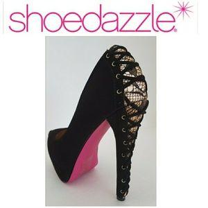 New Black Graziella 7 heels Platforms lace corset