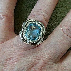 David Yurman Labyrinth blue topaz diamond ring