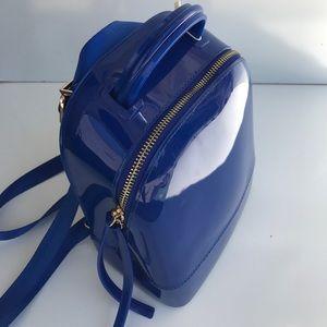Handbags - Royal Blue Lattex Mini Backpack
