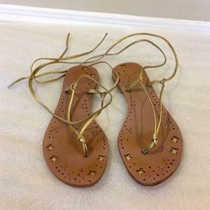 Metallic gold wrap tie summer sandals, size 9