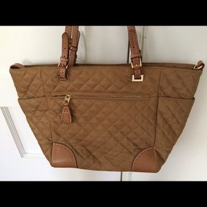 MZ Wallace Bags - Mz Wallace Tan Tote with leather handles & trim