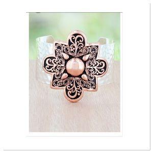 Rose/silvertone Cuff Bracelet