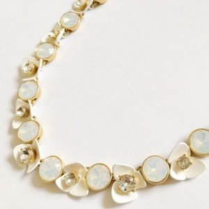 J. Crew flower necklace in white, crystal, & gold