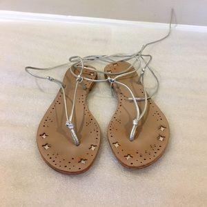 Metallic silver wrap tie summer sandals, size 9