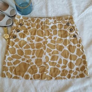 J.Crew Giraffe Print Mini Skirt Size 2