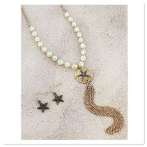 Sand Dollar and Faux Pearl Set