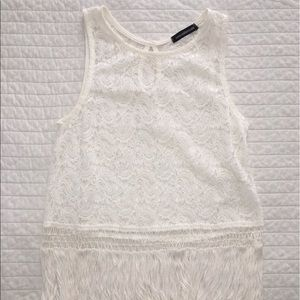 Tops - White Lace Tank with Fringe