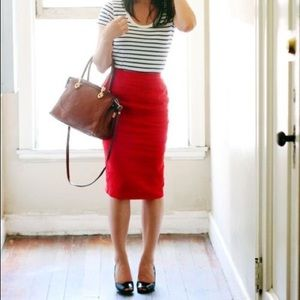 Vintage Bright Red Pencil Skirt