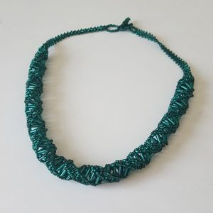 Jewelry - Teal Hand-beaded Necklace