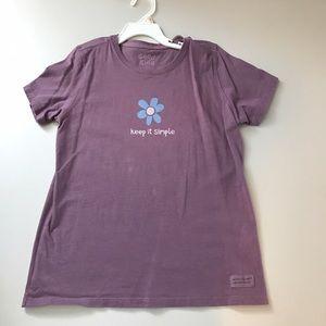 Life is Good Girl Size 10 T-shirt Purple Flower