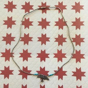 Vintage Native American Silver  Bird Necklace