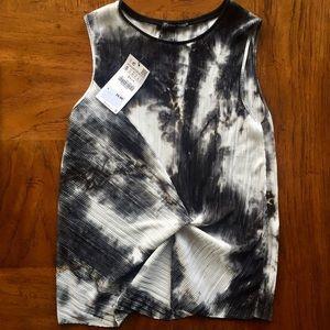 NWT Zara Sleeveless Blouse Black/White Marbled
