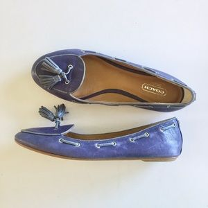 SALE Coach Blue Tassel Leather Loafers
