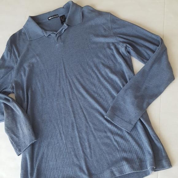 Claiborne claiborne blue ribbed long sleeve shirt from for Ribbed long sleeve shirt