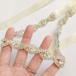 Beautiful sparkly bridal belt with ivory ribbon