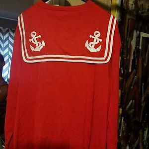 Red and White Sailor Cardigan