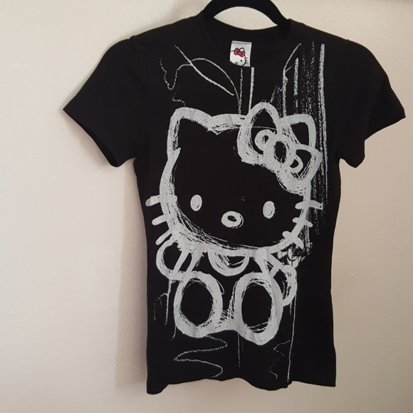 38d76a470 Sanrio Tops | Hello Kitty Black Graphic Tee Shirt Small | Poshmark