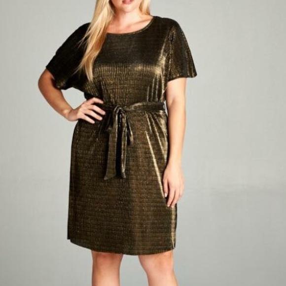 8dbbc649bda Women s Plus Size Gold Tone Dress