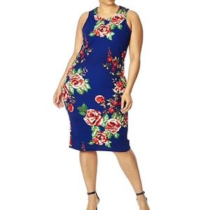 Floral Print Fitted Bodycon Sheath Dress Plus