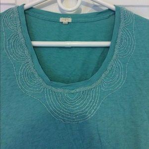 J.Crew Beaded Scoop Neck Tee 100% Cotton shirt