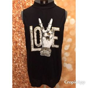 New Black Love Tank Women's Sleeveless Blouse 3x