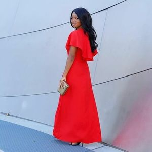 Dresses & Skirts - Glam Red Cape Maxi Dress