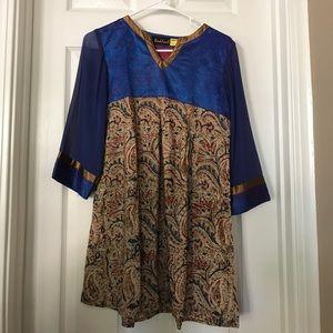 NEW Royal Blue Printed Silk and Cotton Kurti (K11)