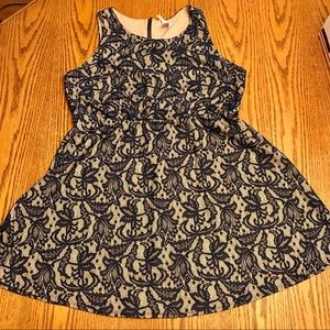 Three Hearts Navy Floral Lace Fit and Flare Dress